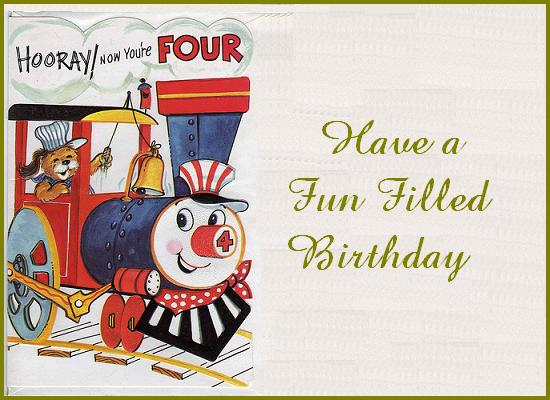 4th Birthday Card For A Wonderful Kid -POST CARD From