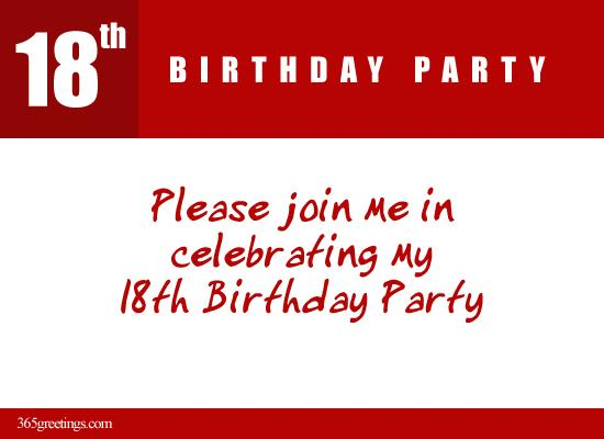 Please Join Me In 18th Birthday Party From 365greetings